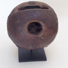Garvey Rita  Art & Antiques 19th Century Lawn Bowling Ball Wood with tin and nail repairs (mounted on custom stand)