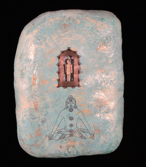 Shrines encaustic on plaster with bone figure