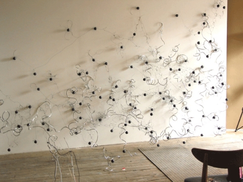 Daffy Dilly, 2001  armature wire, ping-pong balls, monofilament, acrylic