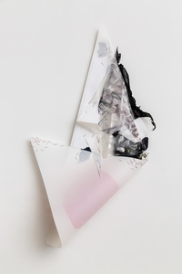 Gelah Penn Constructed Drawings Lenticular plastic, digital prints, lenticular plastic, plastic garbage bag, monofilament, acrylic paint, metal staples on mylar