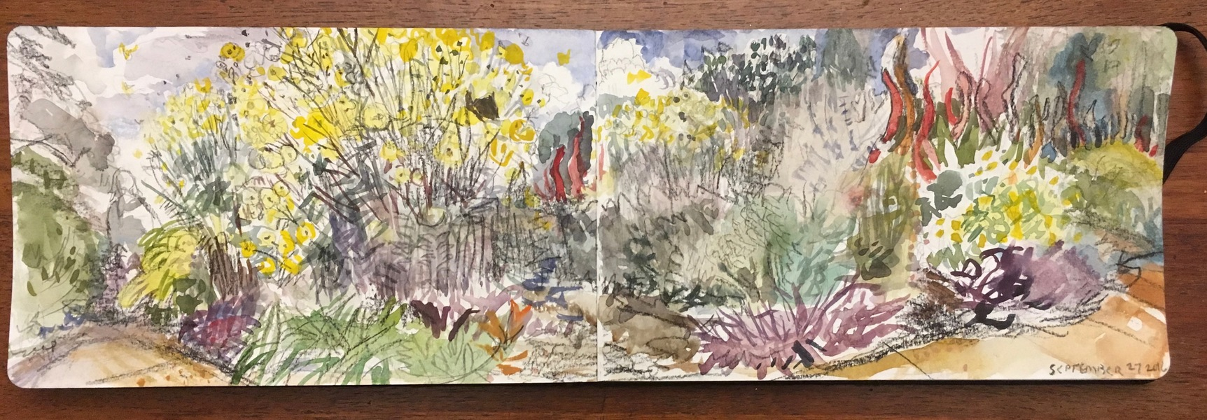 New Painting, casein on paper Botanical Garden Sketch