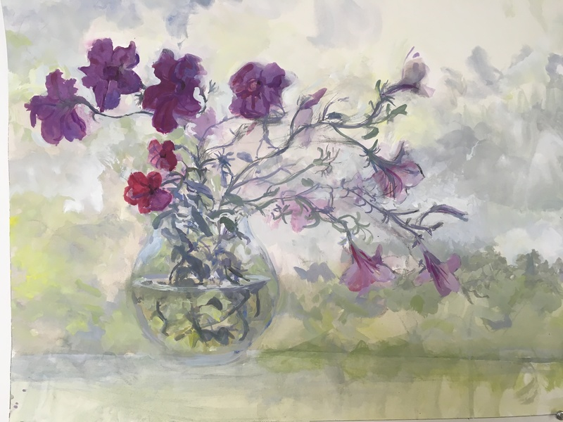 New Painting, casein on paper Petunias 3