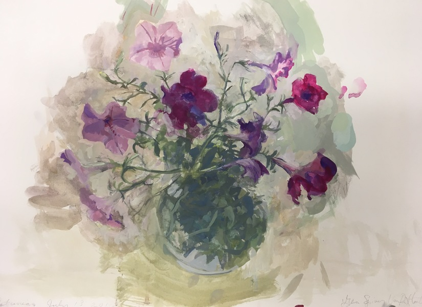 New Painting, casein on paper Petunias 1