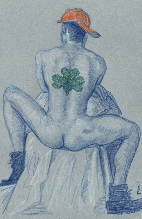 "- ""Erotic Life Drawings/Misc. Erotic Work"" - <i>Warning: Adult Content, please be 18 to view</i> ""Patrick - Clover Back Tattoo""  Life Drawing"