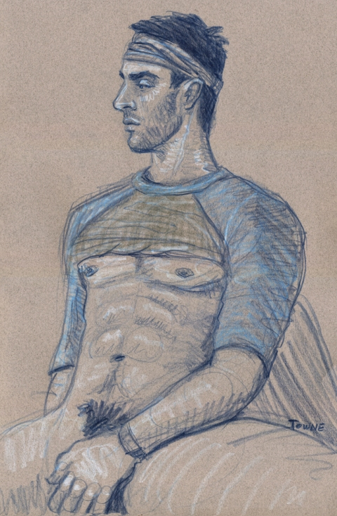 "- ""Erotic Life Drawings/Misc. Erotic Work"" - <i>Warning: Adult Content, please be 18 to view</i> &quot;Patrick - Seated Profile&quot;  Life Drawing"