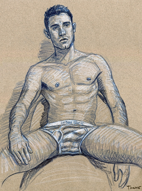"- ""Erotic Life Drawings/Misc. Erotic Work"" - <i>Warning: Adult Content, please be 18 to view</i> &quot;Man In Underwear (Felipe)&quot;  Life Drawing"