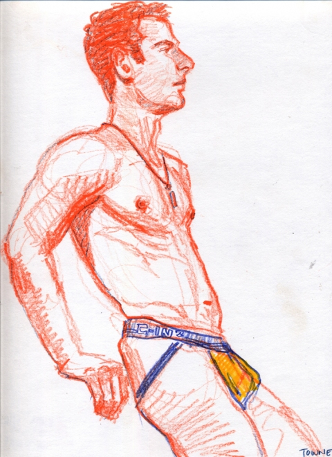 "- ""Erotic Life Drawings/Misc. Erotic Work"" - <i>Warning: Adult Content, please be 18 to view</i> ""Kiril - Jockstrap""  Life Drawing"