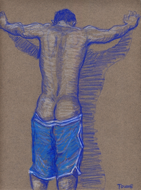 "- ""Erotic Life Drawings/Misc. Erotic Work"" - <i>Warning: Adult Content, please be 18 to view</i> ""Klaus - Backside, Blue Gym Shorts""  Life Drawing"