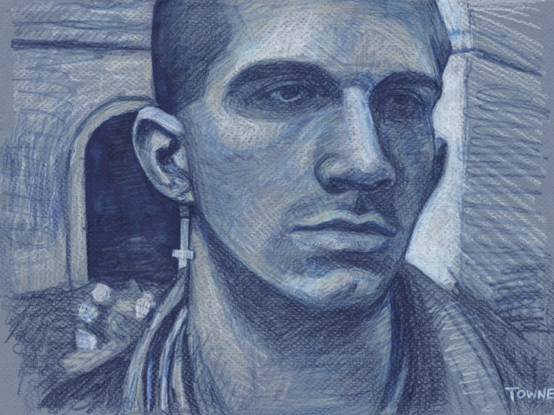 "- Main Artwork / Recent Paintings ""David Rahilly, Color Pencil, Blue Paper"""