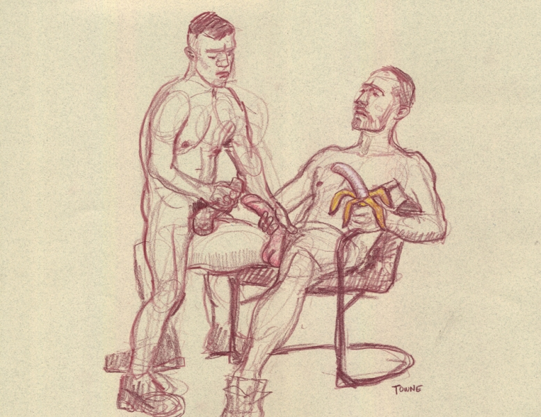 "- ""Erotic Life Drawings/Misc. Erotic Work"" - <i>Warning: Adult Content, please be 18 to view</i> ""Reed and Mark - with Banana""  Life Drawing"