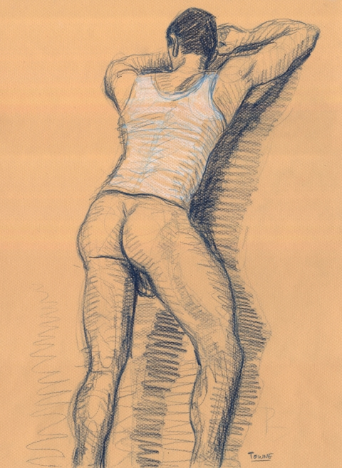 "- ""Erotic Life Drawings/Misc. Erotic Work"" - <i>Warning: Adult Content, please be 18 to view</i> &quot;Doug - Standing, Backside&quot; Life Drawing"