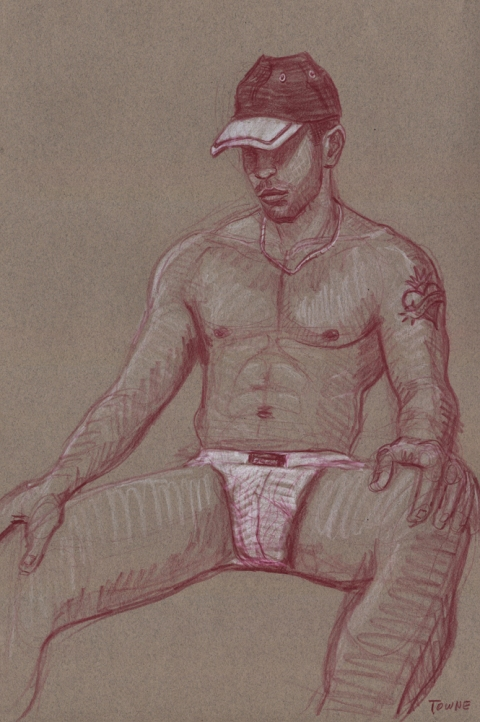 "- ""Erotic Life Drawings/Misc. Erotic Work"" - <i>Warning: Adult Content, please be 18 to view</i> &quot;Eric, Seated - Jockstrap, Cap&quot;  Life Drawing"