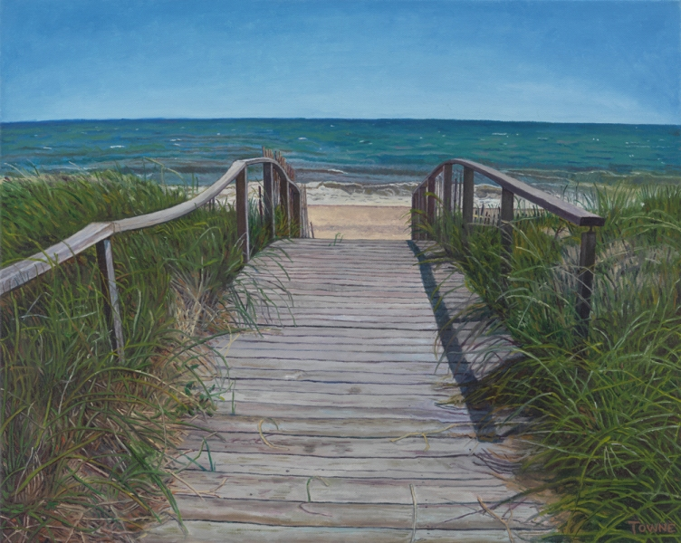 "- Main Artwork / Recent Paintings ""Fire Island Boardwalk, Ocean"""