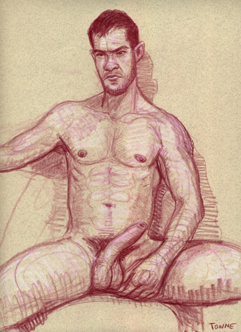 "- ""Erotic Life Drawings/Misc. Erotic Work"" - <i>Warning: Adult Content, please be 18 to view</i> &quot;Klaus Seated, Nude - Hardon&quot;  Life Drawing"