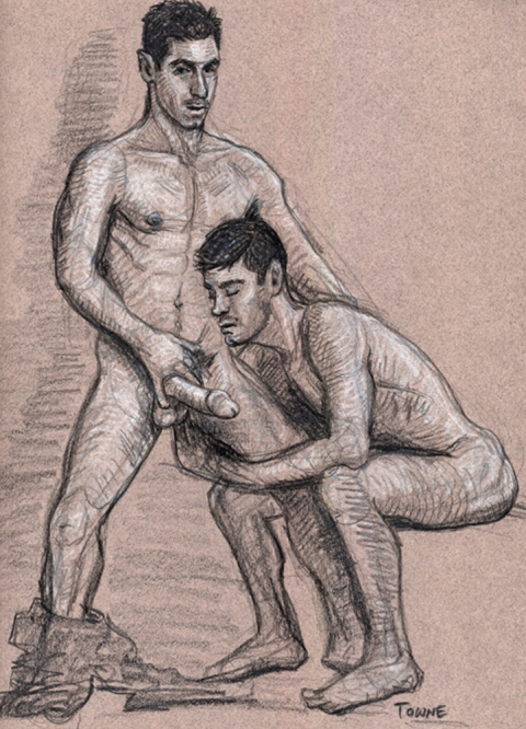 "- ""Erotic Life Drawings/Misc. Erotic Work"" - <i>Warning: Adult Content, please be 18 to view</i> &quot;Rafo and Mike W.&quot;  Life Drawing"