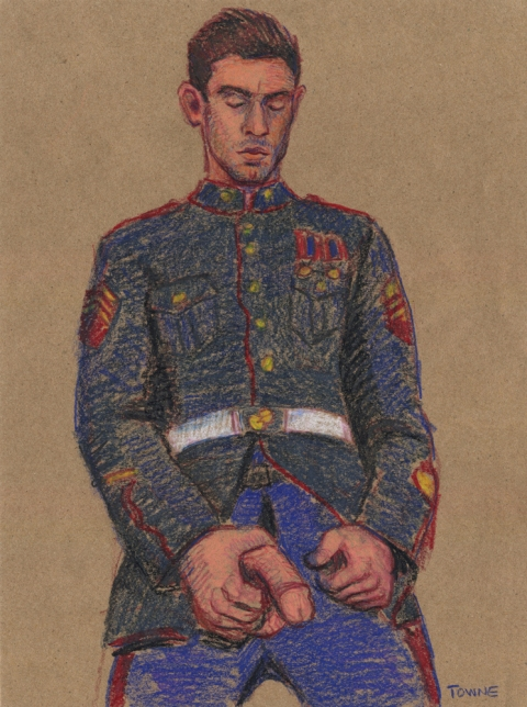 "- ""Erotic Life Drawings/Misc. Erotic Work"" - <i>Warning: Adult Content, please be 18 to view</i> &quot;Eric(Victor Steele) Marine Outfit, Standing&quot;  Life Drawing"