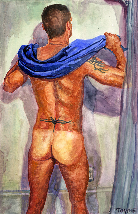 "- ""Erotic Life Drawings/Misc. Erotic Work"" - <i>Warning: Adult Content, please be 18 to view</i> &quot;Nude In Shower (Sergio)&quot;"