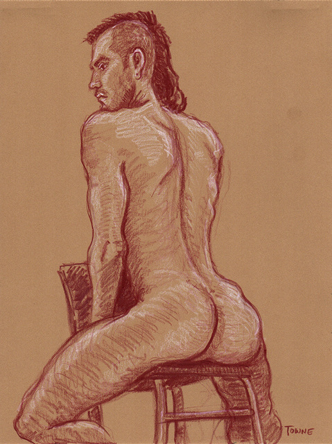 "- ""Erotic Life Drawings/Misc. Erotic Work"" - <i>Warning: Adult Content, please be 18 to view</i> &quot;Che - Seated Nude, Rear View&quot;  Life Drawing"