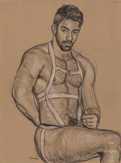 "- ""Erotic Life Drawings/Misc. Erotic Work"" - <i>Warning: Adult Content, please be 18 to view</i> ""James Alexander - Torso, Harness, Portrait"
