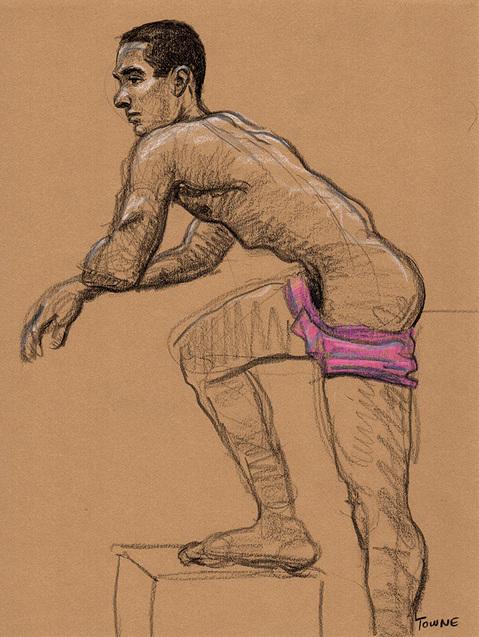 "- ""Erotic Life Drawings/Misc. Erotic Work"" - <i>Warning: Adult Content, please be 18 to view</i> ""Tony - Leaning Forward, Pink Shorts""  Life Drawing"