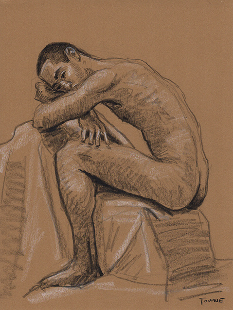 "- ""Erotic Life Drawings/Misc. Erotic Work"" - <i>Warning: Adult Content, please be 18 to view</i> &quot;Tony - Nude Profile, Seated&quot;  Life Drawing"