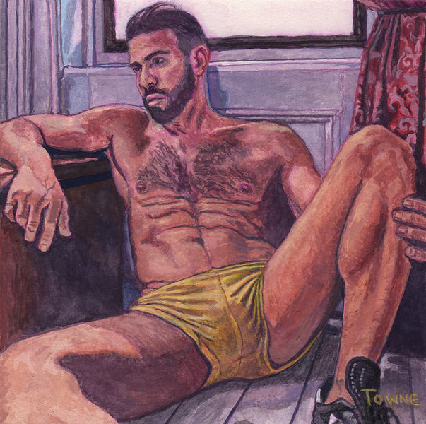 "- Main Artwork / Recent Paintings ""Gregory, Yellow Shorts, Watercolor"""