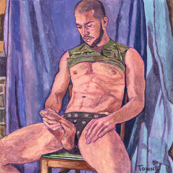 "- ""Erotic Life Drawings/Misc. Erotic Work"" - <i>Warning: Adult Content, please be 18 to view</i> ""Gabriel (Sloppi Chulo) - Seated HardOn, Leather Jock"""