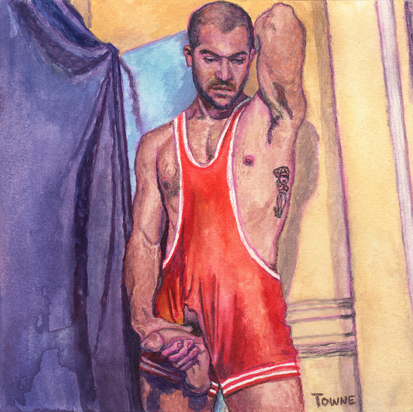 "- ""Erotic Life Drawings/Misc. Erotic Work"" - <i>Warning: Adult Content, please be 18 to view</i> ""Gabriel (Sloppi Chulo) - Standing, Singlet, HardOn"""