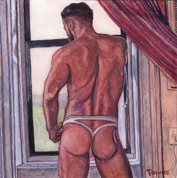 "- ""Erotic Life Drawings/Misc. Erotic Work"" - <i>Warning: Adult Content, please be 18 to view</i> ""Gregory - Jock, Window, Watercolor"""
