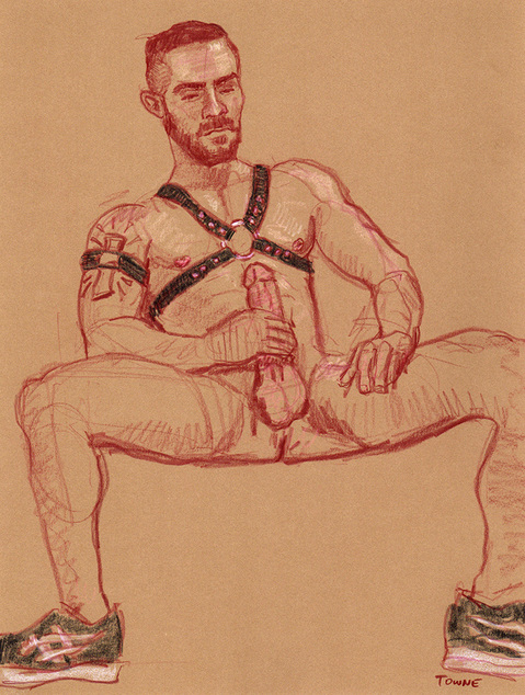 "- ""Erotic Life Drawings/Misc. Erotic Work"" - <i>Warning: Adult Content, please be 18 to view</i> &quot;Carlos - Leather Harness, J/O&quot;"