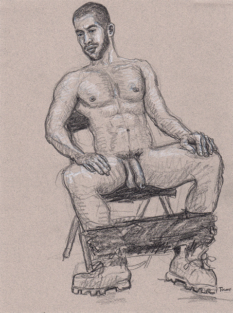 "- ""Erotic Life Drawings/Misc. Erotic Work"" - <i>Warning: Adult Content, please be 18 to view</i> &quot;Gabriel - Seated, Pants Around Ankles, Boots&quot;"