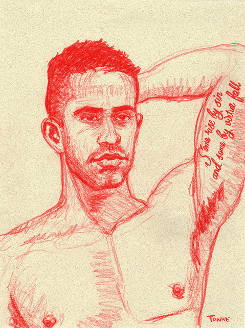 "- ""Erotic Life Drawings/Misc. Erotic Work"" - <i>Warning: Adult Content, please be 18 to view</i> ""Michael - Portrait, Bicep Tattoo"""