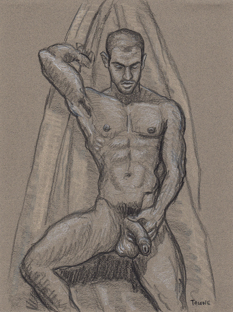 "- ""Erotic Life Drawings/Misc. Erotic Work"" - <i>Warning: Adult Content, please be 18 to view</i> ""Gabriel - Looking Down, Stroking"""