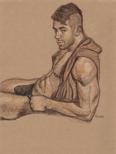 "- ""Erotic Life Drawings/Misc. Erotic Work"" - <i>Warning: Adult Content, please be 18 to view</i> &quot;James, Brown Hooded 3-Quarter Profile Portrait"