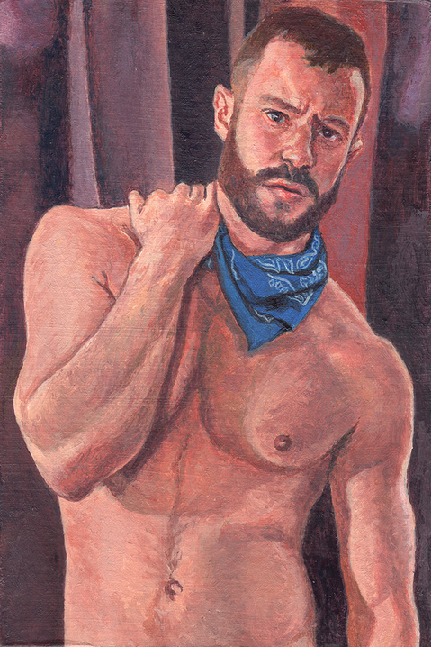 "- Main Artwork / Recent Paintings ""Mitch - Shirtless, Portrait"""