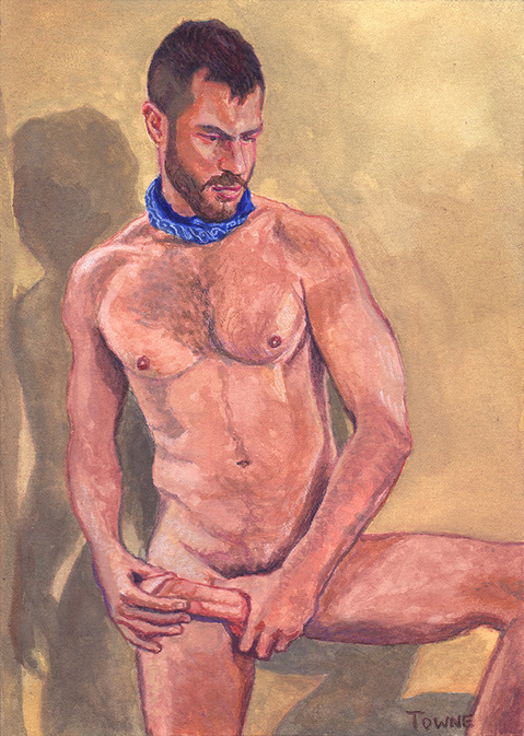 "- ""Erotic Life Drawings/Misc. Erotic Work"" - <i>Warning: Adult Content, please be 18 to view</i> &quot;MJM282 - Standing, Nude - Watercolor&quot;"