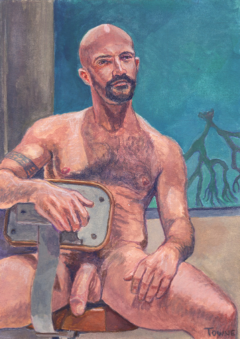 "- ""Erotic Life Drawings/Misc. Erotic Work"" - <i>Warning: Adult Content, please be 18 to view</i> ""Mike R., Nude - Watercolor"""