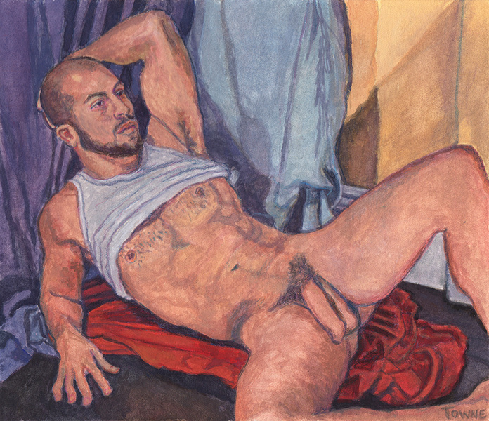 "- ""Erotic Life Drawings/Misc. Erotic Work"" - <i>Warning: Adult Content, please be 18 to view</i> &quot;Gabriel, Reclining Nude, White Tanktop-Watercolor&quot;"