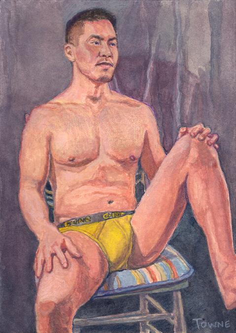 "- ""Erotic Life Drawings/Misc. Erotic Work"" - <i>Warning: Adult Content, please be 18 to view</i> &quot;Conrad, Yellow Shorts, Seated - Watercolor&quot;"