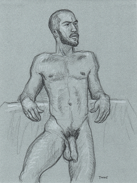 "- ""Erotic Life Drawings/Misc. Erotic Work"" - <i>Warning: Adult Content, please be 18 to view</i> &quot;Gabriel - Leaning Back&quot;"