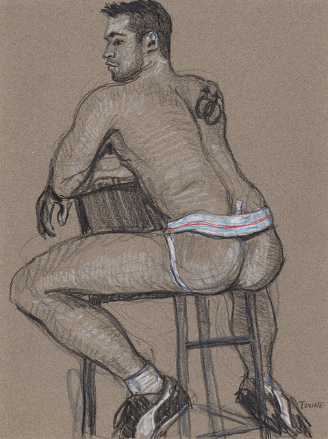 "- ""Erotic Life Drawings/Misc. Erotic Work"" - <i>Warning: Adult Content, please be 18 to view</i> &quot;Michael - Seated, Backside, Jockstrap&quot;"