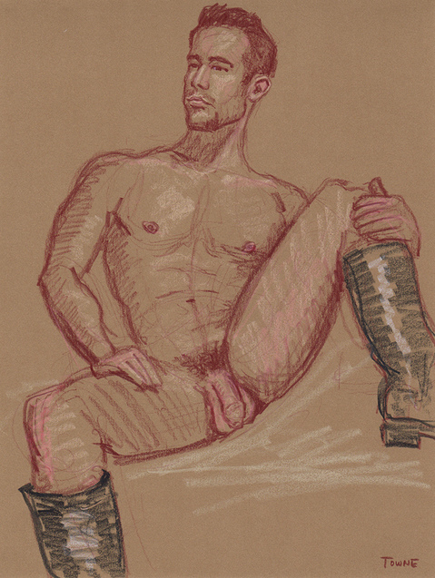"- ""Erotic Life Drawings/Misc. Erotic Work"" - <i>Warning: Adult Content, please be 18 to view</i> &quot;Erik - Seated, Nude, Leather Boots&quot;"