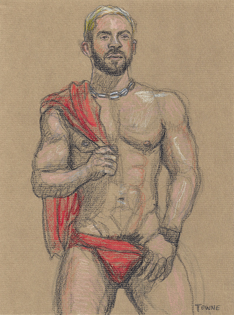 "- ""Erotic Life Drawings/Misc. Erotic Work"" - <i>Warning: Adult Content, please be 18 to view</i> &quot;Xavier - Frontal Portrait, Red Jock&quot;"