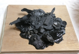 Gilda Pervin  Sculpture Acrylic paint, paint brush, birdform, coal, silicon carbide