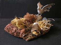 Gilda Pervin  Sculpture Feathered bird form, burlap, Portland cement, acrylic medium and acrylic paint, sponges, quail egg shells, stones, brass pot scrubbers, other found objects