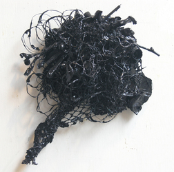 Gilda Pervin Black Reliefs Acrylic paint, found objects, netting, bird forms, cement backing