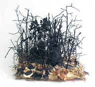 Gilda Pervin  Sculpture Burlap, cement, acrylic paint, twigs, found objects, on wood