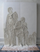 Gilda Pervin  Panels Portland cement, sand, acrylic gesso, charcoal, on wood