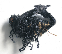 Gilda Pervin Wall Sculpture 1 Burlap, acrylic paint, plastic shavings, found objects, cement backing