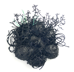 Gilda Pervin Wall Sculpture 2 Acrylic paint, twine, wire, twigs, found objects, cement backing